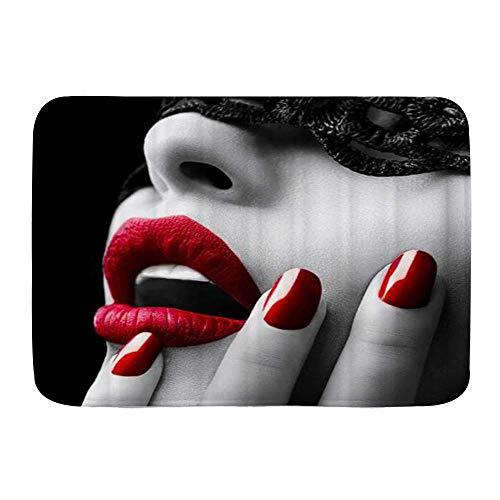 Badematte Teppich EIN schönes Mädchen Gesicht mit rotem Lippenstift und Nagellack Sexy und verführerisch schwarz,Plüsch Badezimmer dekorieren Matten mit Rutschfester Rückseite(75x45cm)