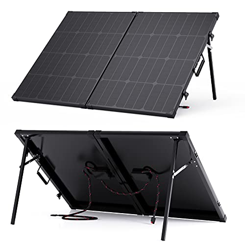 BigBlue 100W Solar Panels, Portable Solar Panel with Carry Suitcase and Aluminum Kickstands, 18V Waterproof Tempered Glass Solar Charger with 5.2ft Anderson Connector for RV Battery and Generators