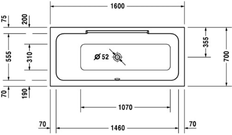 Duravit DuraStyle–Badewanne 1600x 700mmdorsal links