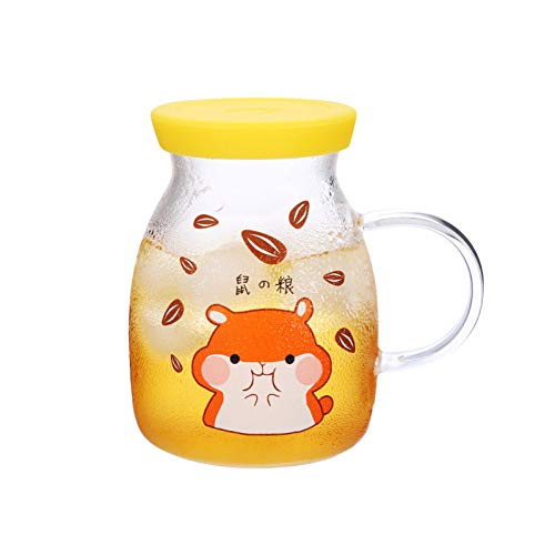 Erjialiu Leuke Cartoon Melk Mok Riem Glas Dames En Kinderen Ontbijt Cup Magnetron Verwarming Hoge Temperatuur Thuis Water Cup