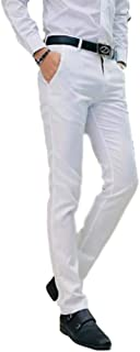 AIK Men's Tapered Slim Fit Wrinkle-Free Casual Skinny Dress Pants,Classic Flat Front Trousers