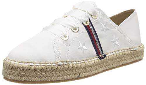 Tommy Hilfiger Damen Flat Corporate Ribbon Espadrilles, Weiß (Whisper White 121), 39 EU
