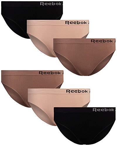 Reebok Women's Underwear - Seamless Microfiber Bikini Panties (6 Pack), Size Medium, Rose Dust/Brownie/Black
