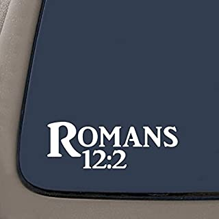 DD941W Romans 12:2 Bible Verse Decal Sticker | 7.5-Inches By 2.7-Inches | Religious Motivational Inspirational Educational | Premium Quality White Vinyl