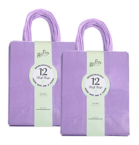 24CT Medium Lavender Biodegradable, Food Safe Ink & Paper, Premium Quality Paper (Sturdy & Thicker), Kraft Bag with Colored Sturdy Handles (Medium, Lavender)