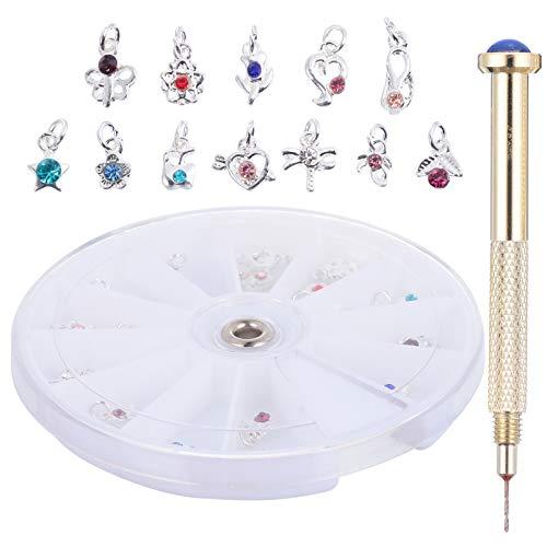 FRCOLOR 24 Piezas de Anillos de Joyería para Uñas con Herramienta Manual de Punzón para Uñas Colgantes de Arte para Uñas con Diamantes de Imitación de Cristal 3D Gemas para Uñas DIY
