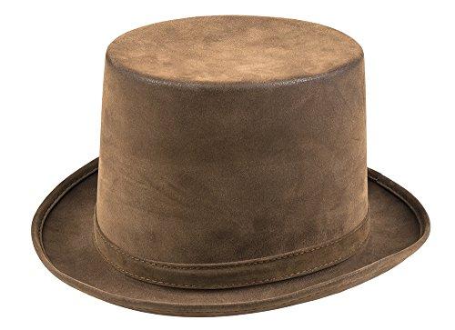 Brauner Zylinder mit antikem Finish Gr. 58-60 Hut Vintage Steampunk Damen Herren