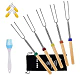 Aschef Barbecue Forks, Set of 5 Roasting Sticks with 2 Pairs Corn Holders, 32 Inch Extendable Stainless Steel Hot Dog Fork with Wooden Handle Grilling Skewers for BBQ Camping Campfire Meal Buffet