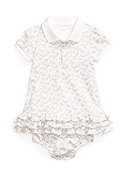 Polo Ralph Lauren Baby Girls Ruffled Polo Dress and Bloomer 2 Piece Set  Floral Pink 9001 /White 12 Months