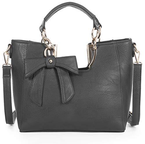 Mabel London Damen Mittlere Henkeltasche Trendige Schulter Handtasche 30 x 23 x 7.5 cm (B x H x T) - Grau