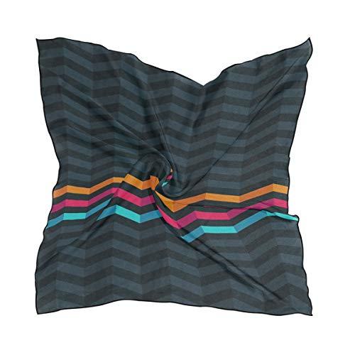 NaiiaN Leichter Druck 60 × 60 cm Streifen bunte Linie Quadrat für Frauen Damen Blume Schal Schal Kopftuch Kopf Wraps
