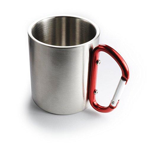 Ganzoo - Tazza termica in acciaio INOX, a doppia parete, isolata, 220 ml, colore: Argento con moschettone rosso