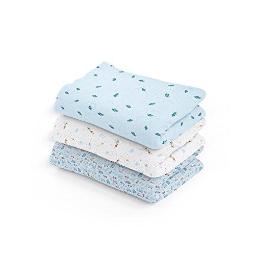 Cueiro Estampado, Papi Textil, Azul, 1.0mx80cm, Pacote de 3