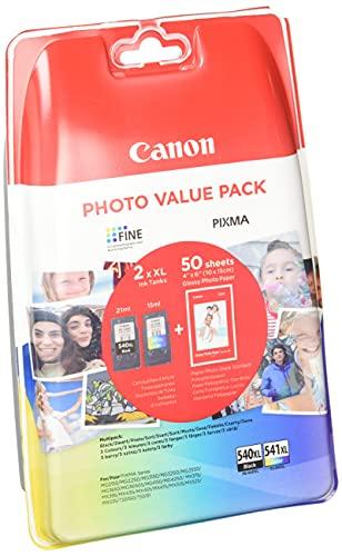 Canon PG-540XL/CL-541 XL Druckertinte - hohe Reichweite + Fotopapier Value Pack Schwarz/ C/M/Y für PIXMA Tintenstrahldrucker ORIGINAL