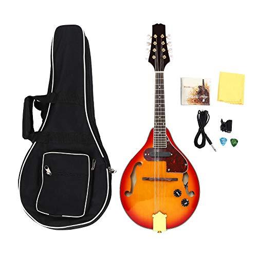 FastUU Music A Style Mandolineninstrument, 8-saitiges Mandolinenmusikinstrument, elektroakustisches Körperdesign Sunburst A Style Akustische elektrische Mandoline für kleine Shows und Indoor-Übungen