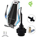 Wireless Car Charger Cup Holder Cell Phone Mount with IR Sensor, Auto-Clamping Air Vent Clip,Compatible for iPhone 11 Pro Max XS XR X 8 Plus,Samsung Galaxy S10+ S9+ Note 9,Google Nexus 4 etc
