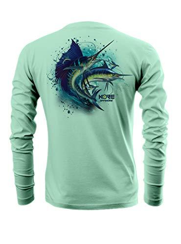 Kore Offshore Mens Long Sleeve UPF50+ Dri-All-Day Sunblock Fishing Shirt - Splash (XL) Seafoam Green