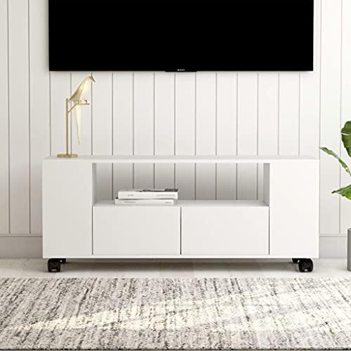 Soporte de TV, Mueble de TV Unidad de TV Consola de Almacenamiento Mueble de televisión Soporte Multimedia Mueble de TV Blanco 120x35x43 cm Aglomerado