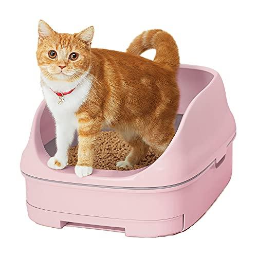 【返金キャンペーン中】スマイリーBOX 猫用トイレ本体 ニャンとも清潔トイレセット [約1か月分チップ・シート付] オープンタイプ フレンチローズ (猫ちゃん想い設計) 猫砂