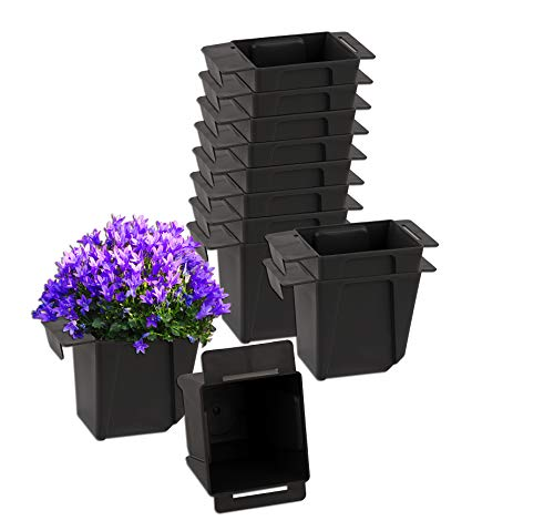 BigDean 12x Pflanzkasten Palette Anthrazit Mini Kunststoff Paletten Blumenkasten Pflanzkübel Palettenkasten Palettenpflanzkasten