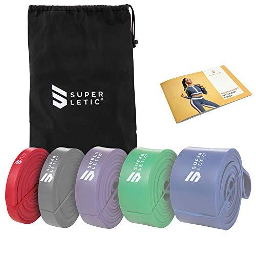 SUPERLETIC Powerbands, Widerstands-Fitness-Bänder, Pullup und Resistance-Training, 5 Stärken, rot, schwarz, lila, grün und blau, mit Workout-Guide (1 - Light (Rot))