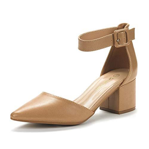 DREAM PAIRS Women's Annee Nude Pu Low Heel Pump Shoes - 6.5 M US