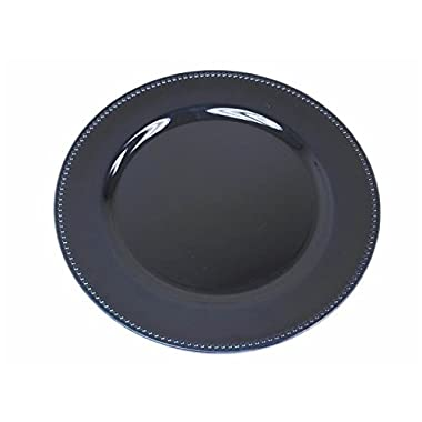 Efavormart 24 pcs 13  Navy Blue Beaded Round Charger Plates