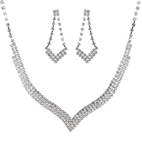 collar Conjunto De 2 Piezas De Joyería Nupcial De Cristal Brillante En Forma De V Romántica Conjunto De Aretes De Collar De Boda