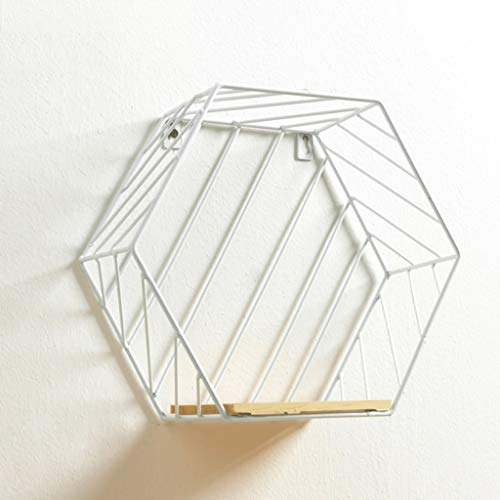 GLOOPE Smeedijzeren zeshoekige wandplank - ornament hanger slaapkamer woonkamer