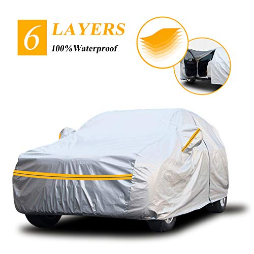 Autsop SUV Car Cover Waterproof All Weather,6 Layers Car Cover for Automobiles Outdoor Full Cover Sun Hail UV Dust Protection with Zipper, Universal A5-YL(Fits SUV 187' to 192')
