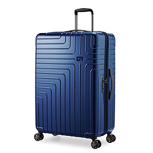 Eminent Koffer Helios L 77 cm 114 L super leicht Extra-Kantenschutz 4 Doppelrollen 360° großes Volumen großer Koffer Blau