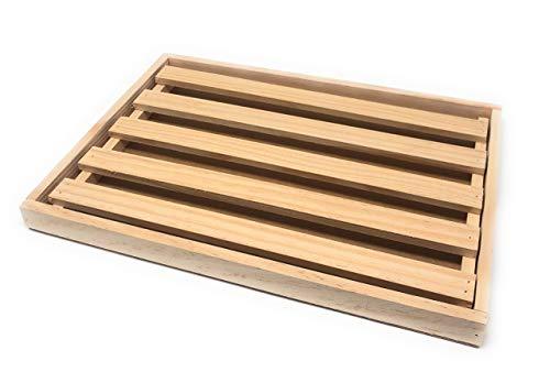 Space Home - Tabla para Cortar el Pan - Tabla con Rejilla Extraíble para Migas - 32 x 22 x 2,5 cm