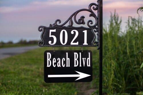 """Address America Boardwalk Customized Home Address Sign with House Number and Large Name Plate – 58"""" Post, Double-Sided, Reflective – Personalized Address Plaques, High Visibility for 911 Response"""
