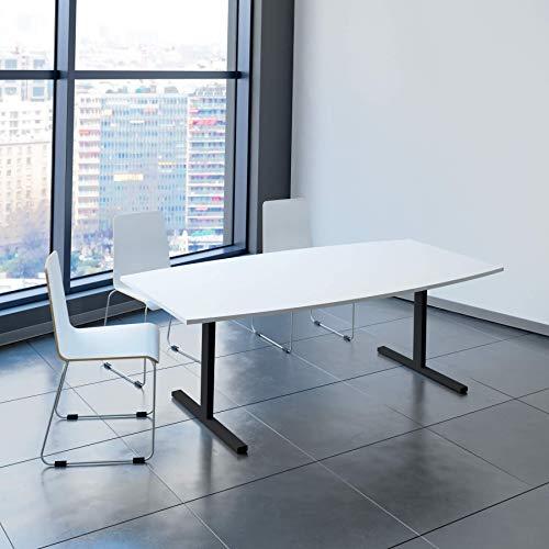 Weber Büroleben GmbH Easy Konferenztisch Bootsform 200x100 cm Weiß Besprechungstisch Tisch, Gestellfarbe:Anthrazit