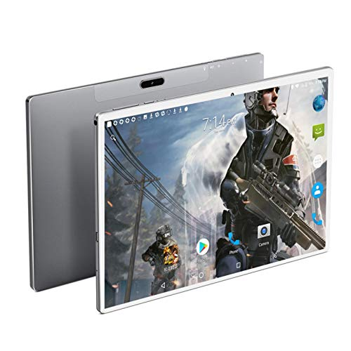 YCHCDR Lonwalk X20 Tablets PC 10 Inch Andriod 9.0 1920 * 1200 IPS 4G Phone Call 6GB RAM 128GB ROM Type-C GPS Wifi Support PUBG Game (Color : Silver, Size : Bundle 3)