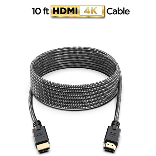 PowerBear 4K HDMI Cable 10 ft | High Speed, Braided Nylon & Gold Connectors, 4K @ 60Hz, Ultra HD, 2K, 1080P & ARC Compatible | for Laptop, Monitor, PS5, PS4, Xbox One, Fire TV, Apple TV & More