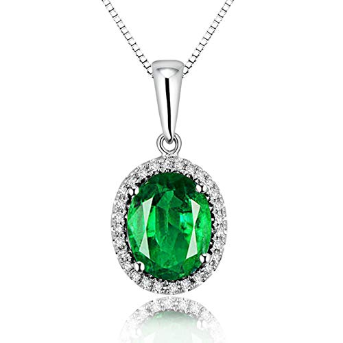 ButiRest Collar para mujer de oro 750, colgante de oro blanco de 18 quilates con cuatro garras ovaladas de 2,1 ct verde esmeralda VS y diamante de 0,11 ct