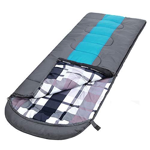 Songmics Slaapzak met compressiezak, brede plafondslaapzak, comfortabele temperatuur 5-15 °C, 3-4 seizoenen, gemakkelijk te transporteren, kamperen, wandelen, 220 x 84 cm