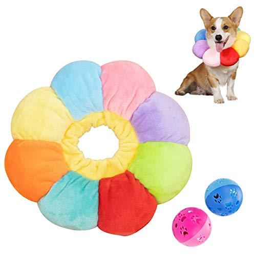 Heiqlay 1 Pieza Collar Isabelino Gato, Collar de RecuperacióN para Mascotas Borde Suave Ajustable Collar Anti Mordida de Borde Suave para Mascotas para Perros y Gatos, Flor del Sol Vistoso, S