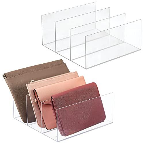 mDesign 2er-Set Clutch Organizer – praktische Handtaschen Aufbewahrung mit 3 Fächern für Clutches, Geldbörsen, Kartenetuis etc. – Portemonnaie Ablage aus Kunststoff – durchsichtig