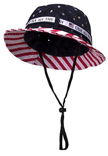 TOP HEADWEAR Cotton Twill USA American Flag Bucket Hat USA All The Way Boonie, L/XL