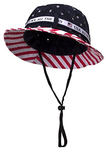 TOP HEADWEAR Cotton Twill USA American Flag Bucket Hat USA All The Way Boonie, L/XL