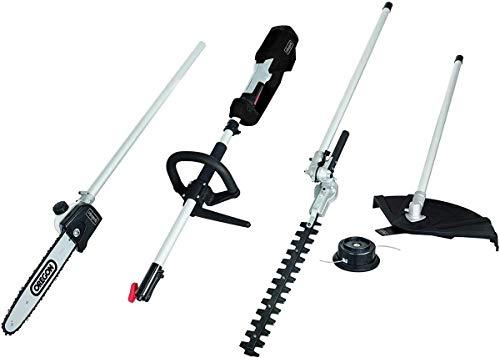 Scheppach Elektro Multitool MF1200-4E (4in1 Motorsense, Rasentrimmer, Heckenschere, Hochentaster, 1200 Watt, Anti Vibrations System, Schnellwechsler, Oregon-Schwert, schwenkbar)