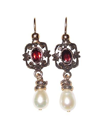 Klassische Granat-Ohrringe rot leicht hängende Süßwasser-Perle weiß Hänger verschließbar...