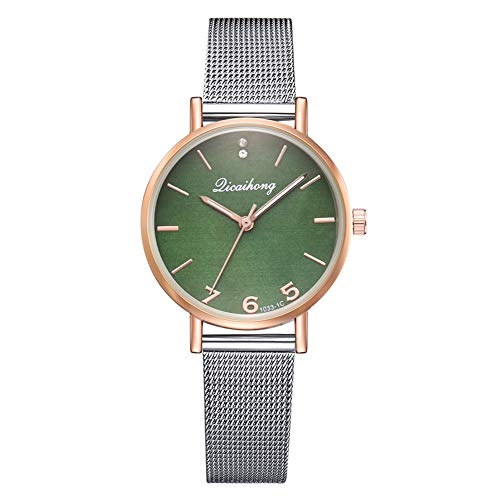 TYYW Reloj De Cuarzo con Cinturón De Malla De Acero A La Moda Reloj Femenino Informal con Espejo Multicolor (Verde)