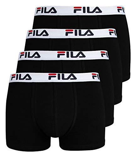 Fila 4er Vorteilspack Herren Boxershorts - Logo Pants - Einfarbig - viele Farben (Schwarz, M - 4er Pack)
