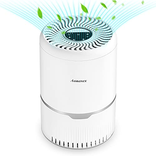 Aonerex Luftreiniger mit H13 HEPA und Aktivkohlefilter, Timer Schlafmodus, 3 Geschwindigkeiten, Nachtlicht, Lock Set, Luftfilter gegen Staub Gerüche Rauch Pollen für Schlafzimmer Büro Wohnzimmer