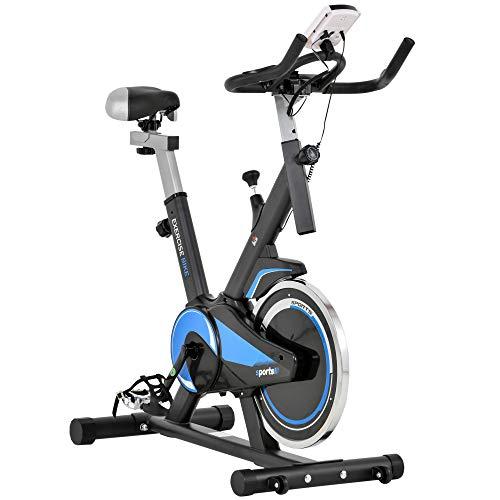 homcom Cyclette Spinning Professionale, Cyclette da Camera, Spin Bike con Altezza Regolabile 112-122cm Blu e Nera, Volano 10kg