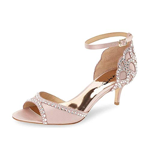 XYD Ballroom Dance Shoes Wedding Sandals for Women Pumps with Rhinestones Ankle Strap Peep Toe Heels Size 7 Pink-5cm