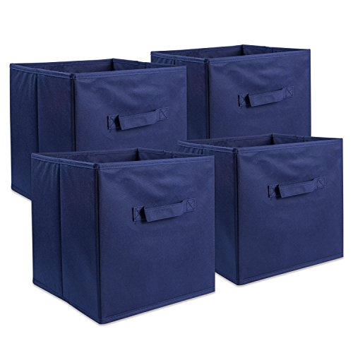 DII Foldable Fabric Storage Containers for Nurseries, Offices, Closets, Home Décor, Cube Organizers & Everyday Use, 11 x 11 x 11 Nautical Blue-Set of 4, Small (4)